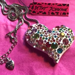 Betsey Johnson colorful heart necklace/brooch